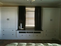 IKEA Hemnes Wardrobe and TV Unit made into wall unit with window seat. Bedroom Built Ins, Closet Bedroom, Bedroom Storage, Home Bedroom, Ikea Closet, Bedroom Wall Units, Pax Closet, Master Bedroom, Ikea Bedroom