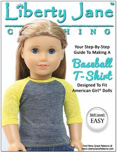 Doll Clothes Pattern Baseball Tee for 18 inch American Girl Doll PDF Pattern Download | Pixie Faire