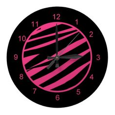 KRW Pink and Black Zebra Diva Wall Clock
