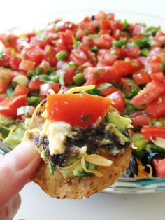 Healthier Seven Layer Dip! This looks delicious! - tailgate dip