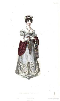 Evening Dress from Ackermann's Repository of the Arts June 1819