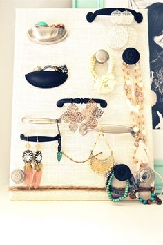 DIY jewellery organizer with drawer pulls