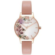 Olivia Burton Women's Enchanted Garden Stainless Steel Leather-Strap... ($110) ❤ liked on Polyvore featuring jewelry, watches, peach, round watches, dial watches, floral jewelry, peach jewelry and floral jewellery