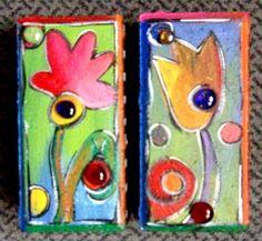 Whimsical+yellow+flower+brick+by+KathyHyatt+on+Etsy,+$20.00