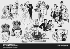 '50s Couples| Vintage Vectors | Royalty Free | Free of Charge | Commercial Use | Free Retro Vectors | Free Retro Vectors