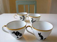 Porzellansticker Tangram // Porcelain sticker Tangram by Citoyennes via DaWanda.com