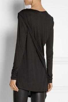 DONNA KARAN Casual Luxe asymmetric jersey top