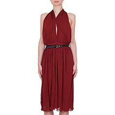 Gucci Women's Purple Rayon Runway Dress w/Leather Belt 277897 (Small) Branded Belts, Crossover, Lady In Red, Fashion Brands, Bamboo, Topshop, Runway, Dresses For Work