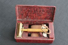 Vintage Valet Gold Safety Razor in Brown Plastic by PeggysTrove, $25.00