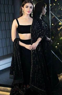 How to Style like a Bollywood Celebrity – Style Like Deepika, Priyanka, Alia Bhatt, Alia Bhatt black crop top lehenga Indian Gowns Dresses, Indian Fashion Dresses, Dress Indian Style, Diwali Dresses, Diwali Outfits, Indian Attire, Indian Wear, Indian Party Wear, Indian Designer Suits