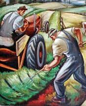 Carl Morris mural in the Eugene, Oregon post office in 1943 as part of the Works Progress Administration. Murals Street Art, Mural Art, Coit Tower San Francisco, Works Progress Administration, Office Mural, Drawing Competition, Travel Crafts, Propaganda Art, Sand Crafts