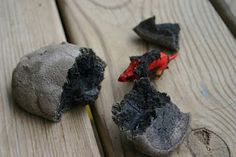 "Make fossilized ""dinosaur eggs"" for the boys and hide them around the yard for them to find"