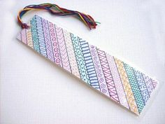 Items similar to OOAK rainbow zentangle bookmark, original art bookmark, zen doodle, one of a kind book mark on Etsy Creative Bookmarks, Cute Bookmarks, Paper Bookmarks, Bookmark Craft, Watercolor Bookmarks, Diy Marque Page, Mandala Artwork, Book Markers, Zentangle Patterns