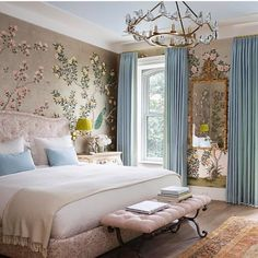 """Ashley Stark Kenner on Instagram: """"When a bedroom is too pretty to sleep in. Love this feminine bedroom by @kevinisbell with stunning @graciestudio paper. • • • • • #interior…"""""""