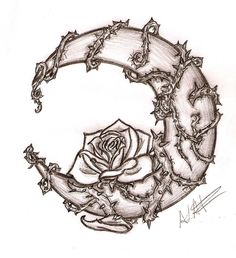 This was a tattoo request, a rose in a moon... I might have exagerated on the vines and torns... Oh well...