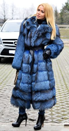Blue dyed silver fox fur coat