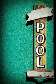 Green Wooden Pool Sign photograph by RetroRoadsidePhoto on Etsy - I am SUCH a sucker for old type! Cheap Neon Signs, Neon Signs For Sale, Neon Bar Signs, Vintage Neon Signs, Vintage Bar, Pool House Decor, Home Bar Decor, Swimming Pool Signs, Wooden Pool