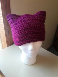 ready to ship Crochet pussyhat, crochet cat hat, gift for her