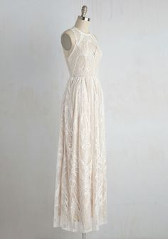 Ethereal Love Dress in White. Draped in the dreamy white lace of this maxi dress, youll be floating on cloud divine. #cream #wedding #bride #modcloth