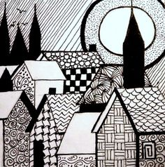 Drawing Doodles Sketches Barb's Daily Creations: Village One dessin, Drawing Doodles Sketches Easy Doodle Art, Doodle Art Drawing, Zentangle Drawings, Cool Art Drawings, Art Drawings Sketches, Doodles Zentangles, Drawing Drawing, Zen Doodle Patterns, Doodle Art Designs