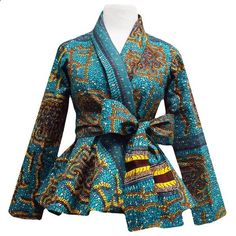 Style Stand out in our beautiful Diola African print blazer. This African print blazer features a teal and yellow African print, with a slimming peplum style fit. Pair this blazer perfectly wi African Print Dresses, African Fashion Dresses, African Attire, African Wear, African Women, African Dress, Ankara Fashion, African Prints, Fashion Outfits