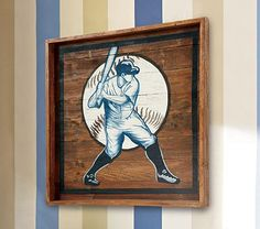Baseball Themed Nursery Decor: Wooden Baseball Wall Art