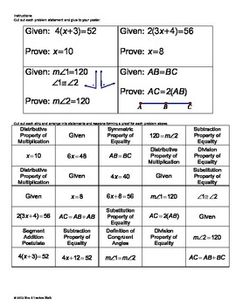 Angle Relationships Proof Activity | High school geometry