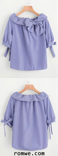 Fold Over Neckline Pinstripe Bow Tie Detailed Top Fast Fashion, Trendy Fashion, Kids Fashion, Womens Fashion, Dresses Kids Girl, Girl Outfits, Casual Outfits, Frock Patterns, Dress Anak