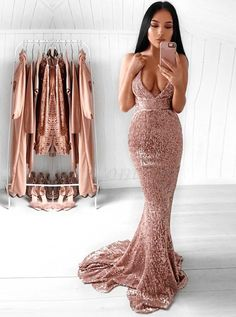 Best Mermaid Deep V-Neck Backless Sexy Sequined Prom Dress with Train in Romprom.com