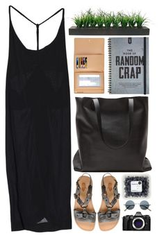 """""""Random Crap"""" by fyenksfiona ❤ liked on Polyvore featuring Local Apparel, Louis Vuitton, Laura Ashley, Olympus, maxidress, allblackeverything and leathertote"""