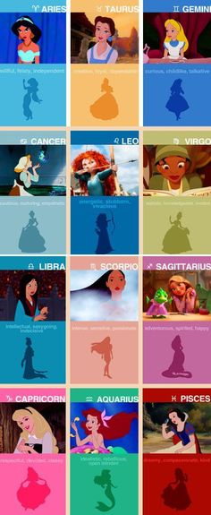 Disney Princesses and Zodiac signs. Yup this is what happens with too much boards studying...