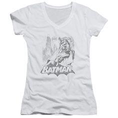 BATMAN/BAT SKETCH - JUNIOR V-NECK - WHITE -