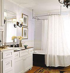 Clawfoot Tub Bathroom Designs Small Blue & White Bathroom With Old Refinished Clawfoot Tub