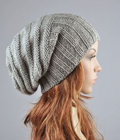 Hand knit hat Light Grey Chunky Wool Hat slouchy hat by MaxMelody