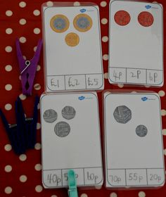 Making your own Money peg cards. Great way to help kids learn about money and using the pegs helps to strengthen their fingers Money Activities, Math Activities For Kids, Money Games, Math Resources, Math Games, Kids Learning, Play Money, Year 1 Maths, Early Years Maths