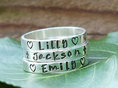 I want this too- just names. Stacking Name Rings Name Rings Personalized by namejewelrydesigns, $25.00