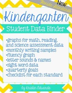 Kindergarten Student Data Binder: New Florida Standards