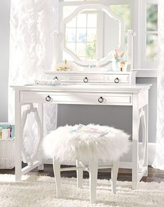 Chic, elegant and functional, the Elsie Classic Vanity Desk Set has everything you need for stylish storage. It has a Simply White finish with black hardware that pops against the paint, making it a charming piece for bedrooms and studies. Teen Vanity, Vanity Desk, Furniture Vanity, Bedroom Furniture, Furniture Storage, White Furniture, Vanity Tables, Desk Hutch, White Vanity