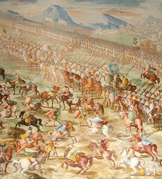 Forces of Muhammed IX, Nasrid Sultan of Granada, at the Battle of Higueruela 1431, as depicted in a series of fresco paintings by Fabrizio Castello, Orazio Cambiaso and Lazzaro Tavarone in the Gallery of Battles at the Royal Monastery of San Lorenzo de El Escorial, Spain   Horses in warfare   Wikipedia