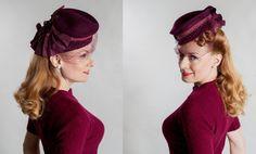 Vintage 1940s Marsala Tilt Hat - Veiled Grosgrain Fascinator - Old Hollywood Fashions
