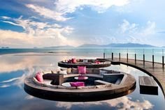 sunken lounges at the W in Koh Samui, Thailand
