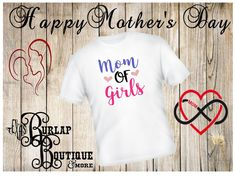 Handmade MOTHER S Day MOM of Girls T- shirt Size S - 3XL