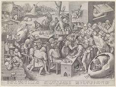 Pieter van der Heyden | Keisnijder of de heks van Mallegem, Pieter van der Heyden, Theodoor Galle, 1595 - 1633 | De keisnijder of de heks van Mallegem. Te midden van een groep dwazen voert een kwakzalver bij het licht van een lantaarn een operatie uit waarbij een kei uit het hoofd van de patient wordt gesneden. Rechts een schreeuwende vrouw gezeten op de schouders van een oude vrouw. Rechts voor het snijden van keien in een groot ei. Op de achtergrond een watermolen en fantastische wezens…