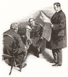 """Illustration by Sidney Paget for Sir Arthur Conan Doyle's Sherlock Holmes story """"The Red-Headed League. Original Sherlock Holmes, Sherlock Holmes Series, Adventures Of Sherlock Holmes, Sir Arthur, Arthur Conan Doyle, A Scandal In Bohemia, Red Headed League, A Study In Scarlet, Famous Detectives"""