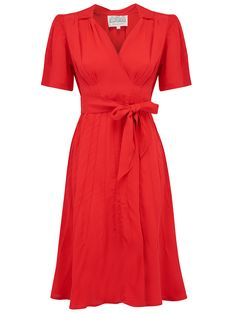 """A stunning classic vintage 1940s style dress which has an easy, flexible and comfortable fit. A beautiful body shape and fit in tune with its authentic 1940s vintage style. This dress finishes on or just below the knee, and in a natural Rayon Crepe de Chine fabric is easy to care and machine washable too.. A """"Seamstress of Bloomsbury"""" Original, Simply the best quality fabric, attention to detail and authentic Lillian Wells designs.  RocknRomance, Tea Dress, Vintage Dress, Dress For ..."""