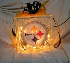 christmas crafts with glass | Sports Lights, Pittsburgh Steelers. Glass Block with gold lights ...