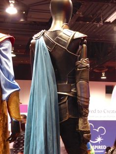 Thor: Ragnarok's Valkyrie and Grandmaster film costumes on display at D23 Expo 2017