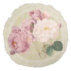 Roses & lace floral vintage pillow round pillow