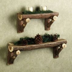 Log Christmas Shelves Outdoor Decoration http://www.woodz.co/5-unique-ideas-of-using-logs-as-outdoor-christmas-decoration/