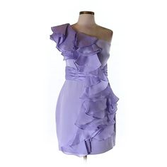 Pre-owned MARCHESA notte Silk Dress ($179) ❤ liked on Polyvore featuring dresses, light purple, lavender cocktail dress, notte by marchesa dresses, preowned dresses, pre owned dresses and purple silk dress